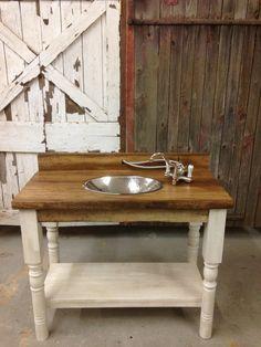 Reclaimed Barn Wood Bathroom Vanity Turned Legs Shelf Plank Pallet Modern Rustic Urban White Farm Farmhouse
