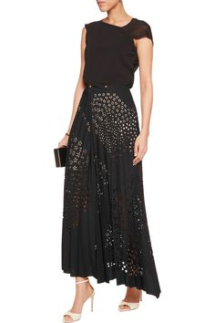Shop on-sale Roland Mouret Cato pleated laser-cut crepe maxi skirt. Browse other discount designer Skirts & more on The Most Fashionable Fashion Outlet, THE OUTNET.COM