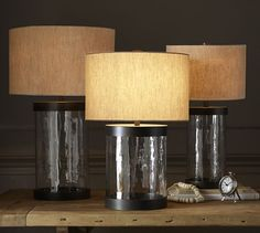 "on console behind sofa Murano Glass Table Lamp Base | Pottery Barn, Small Table: 10.5"" diameter, 17.5"" high Table: 8"" diameter, 17.25"" high Grand Table: 10.5"" diameter, 21"" high $96-$128"