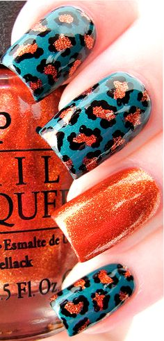 Turquoise and Orange Nails ❤ Get Nails, Fancy Nails, Orange Nails, Blue Nails, Stylish Nails, Trendy Nails, Leopard Print Nails, Leopard Prints, Acryl Nails