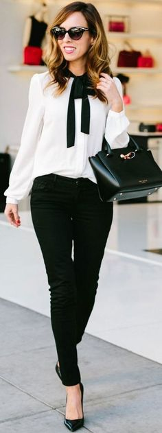 How To Wear Black Jeans at the Office | Black And White 9to5 Style | Sydne Style