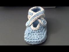 How to crochet baby shoes with criss cross strap- zapatitos de bebe en crochet