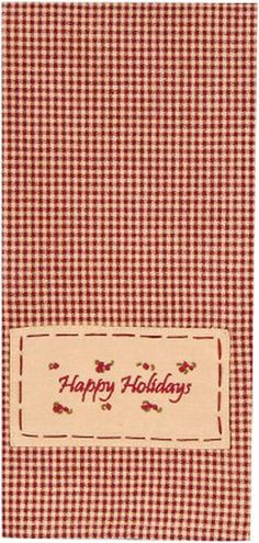 """Happy Holidays Barn Red Christmas Kitchen Towel 18"""" x 28"""""""