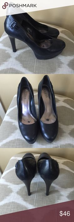 """Guess Black Leather Pumps Size 9.5M With 5"""" Heels Guess Black Leather Pumps Size 9.5M With 5"""" Heels With 1.25"""" Platform Footbed GUESS Shoes Heels"""