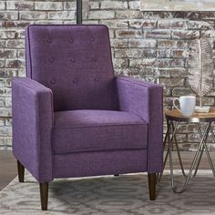 Mervynn Mid-Century Button Tufted Fabric Recliner Club Chair by Christopher Knight Home - Overstock - 15037715 - muted purple + dark espresso Stylish Recliners, Modern Recliner, Tufted Chair, Chair And Ottoman, Recliner Chairs, Swivel Chair, Cool Chairs, Modern Chairs, Decorating Your Home