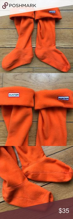 Hunter Boot Socks Authentic orange fleece Hunter Boot socks. Never worn. Size Medium (my boots are a size 7).  Super cute with black, navy, olive or even dark grey color Hunter boots. Hunter Shoes Winter & Rain Boots