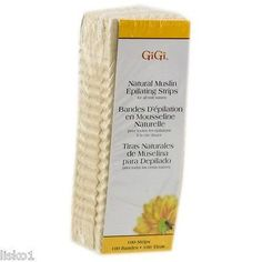 GIGI SMALL NATURAL MUSLIN EPILATING STRIPS FOR WAXING, FACIAL HAIR REMOVAL 100PK