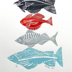 Lino fish design - i like that they are not the same shape or colour..