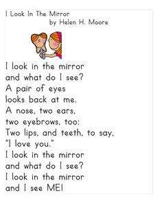 I look in the mirror / Self-esteem. Poems---Just 4 Teachers: Sharing Across Borders: Grade Poems/Treasures Weekly Poetry Schedule for Short Poems For Kids, Poetry For Kids, Kids Poems, Simple Poems For Kids, English Poems For Kids, Preschool Poems, Kindergarten Poems, All About Me Preschool, Ingles Kids