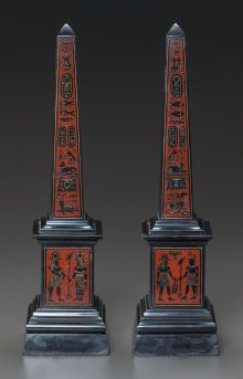 A PAIR OF EGYPTIAN-STYLE MARBLE OBELISKS 20th century 15-1/2 inches high (39.4 cm) - front side
