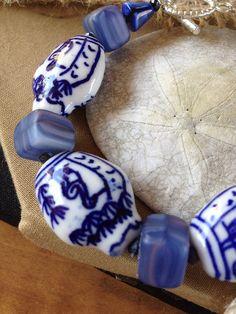 Blue and White Porcelain Chunky Bracelet on Etsy, $10.00