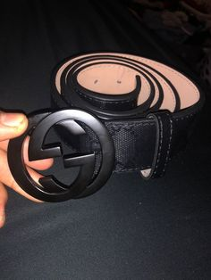 defefbe04a8 A slim leather belt with Double G buckle.