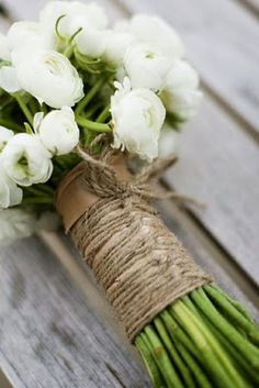 White Ranuncula bouquet with Twine Wrap