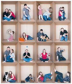 Family Photo Grid - Fun in a cardboard box!