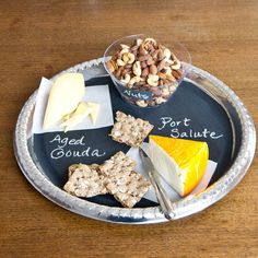 Cheese and nuts chalkboard serving tray