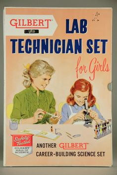 for girls (because Science is different for them.) Vintage Gilbert Lab Technician Set for girls Career-Building Science Set, Safety Tested Gilbert Hall of Science, History Of Chemistry, Chemistry Set, Lab Humor, Medizinisches Labor, Medical Laboratory Scientist, Laboratory Humor, Baby Boomer, Science Kits, Science Humor