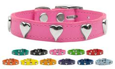 Collar Planet - Heart Leather Pet Dog Collar (http://www.collarplanetonline.com/heart-leather-pet-dog-collar/) This a 100% soft genuine latigo leather dog collar. It has a Heart emblem made of brass that is nickel plated for that heart and is available in a great assortment of colors and sizes.