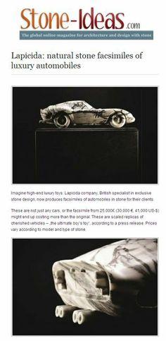 Lapicida's marble Ferrari is a scale model of the 250 GTO, carved from a single block of Arabescato marble lapicida.com http://www.stone-ideas.com/2014/03/09/lapicida-natural-stone-facsimiles-of-luxury-automobiles/