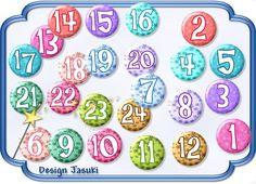 24 Button Zahlen Adventskalender  BUNT von Jasuki auf DaWanda.com