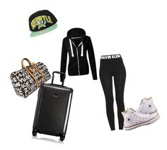 """""""Airplane outfit"""" by dj2000noname ❤ liked on Polyvore featuring Calvin Klein, Louis Vuitton, Tumi and Converse"""