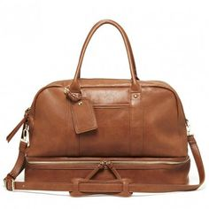 Cognac Vegan Travel Satchel | Mason | Free Shipping on Orders $50+