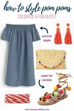 How To Style Pom Poms // Pom Pom Outfit Ideas // Cute Summer Outfits