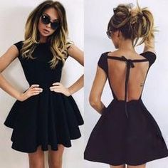 Define glamour and fashion with this backless dress. Features round neckline, backless with bow ribbon, short sleeves, elastic waistband and flared silhouette. Crafted from polyester and spandex mater