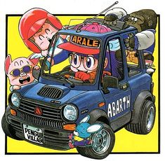 Arale, personaggio dei fumetti giapponesi, alla guida di una Autobianchi A112 Abarth