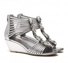 For a party shoe, a jewel embellished gladiator with a mini wedge.