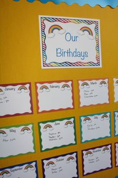 Display student birthdays quickly and easily with this rainbow themed classroom set! $