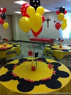 Simple placemats provide maximum impact. See more Mickey Mouse birthday ideas and birthday parties for kids at www.one-stop-party-ideas.com