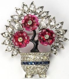 Dujay Ruby Fruit Salad Flowers and Invisibly Set Sapphires Flowers in a Pot or Basket Pin