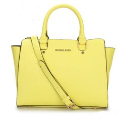 Michael Kors Yellow Large Selma Top-Zip Satchel