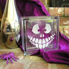 Halloween Etched Glass Block | eHow