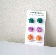 Flower stud earrings Green Stud earrings lilac stud by JPwithLove, $18.00