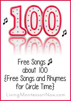 Free Songs about 100 {Free Songs and Rhymes for Circle Time} 100 Days Song, 100 Songs, Teaching Kindergarten, Teaching Music, Teaching Resources, Teaching Ideas, Teaching Materials, 100 Days Of School, School Fun