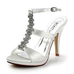 Satin Stiletto Heel Sandals Honeymoon / Wedding Shoes With Rhinestones (More Colors) – USD $ 69.99