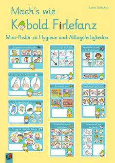 #Poster-Set für Erzieher und Erzieherinnen im Kindergarten für Kinder von 3–6 Jahren, und für Lehrer und Lehrerinnen der 1. Klasse an Grund- und Förderschulen +++ Hände waschen und Toilette benutzen oder Kleidung anziehen und Spielzeug aufräumen – der kleine Kobold Firlefanz hat zehn #Miniposter für die Kita dabei, mit weiterführenden Ideen und exemplarischen #Merksprüchen, auch als #Kopiervorlagen im Booklet sind. #Hygiene #Alltagsfertigkeiten #Aushänge #Infoplakat #Spielregeln… Kobold, Kindergarten, Bullet Journal, Poster, Im Done, Improve Self Confidence, Search Engine Optimization, Brush Teeth, Game Ideas