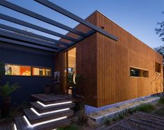 all timber house design,recycled timber floor,interesting deck designs Wood Cladding Exterior, House Cladding, Timber Cladding, Timber Architecture, Residential Architecture, Architecture Details, External Wall Cladding, Timber House, Gardens