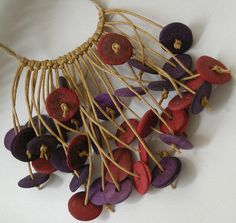 Nubia Goncalves; Spring shower    choker with cord and coconut discs