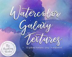Watercolour Galaxy Textures  12 TEXTURES png transparent. Digital Download. #watercolortexture #watercolorgalaxy #galaxytexture #graphicdesign #digitaltexture
