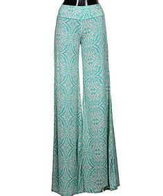 Mint Filigree Hibiscus Palazzo Pants by Fashionomics