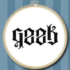 Geek Ambigram Cross Stitch Chart