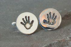 Personalized Handprint Keepsake Cufflinks (Circle) - 11 Main
