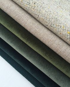 Textural tones from deep jungle green to flax and cream in velvets, marle and tweed wool textiles. Colour Pallete, Colour Schemes, Textiles, Pantone, Fabric Photography, Material Board, Fabric Textures, Green Fabric, Soft Furnishings