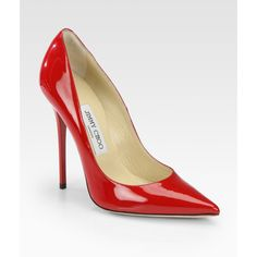 Jimmy Choo Anouk Patent Leather Point Toe Pumps ($575) ❤ liked on Polyvore
