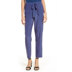 Women's Tory Burch Talia Print Tie Front Pants ($325) ❤ liked on Polyvore featuring pants, navy sea, tapered trousers, pull on pants, white pull on pants, white pants and navy pants
