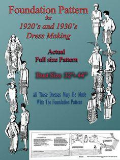 20s Flapper dress pattern through 30s Dress Bust by RumbleSeatCat, $24.95