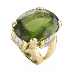 David Webb 'Shelter Island' Faceted Peridot & Diamond  Ring (=)