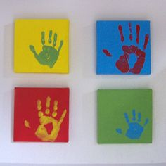 ***This is an easy-peasy project by my friend Nicky that I really need to do soon before my son's hands get any bigger!***  I bought 8x8 inch canvases, painted them a solid color (different color for each canvas). Then after it dried, each of us put our hand print in another color on our canvas. They are hanging in my entry so people see them when they first walk in my house.